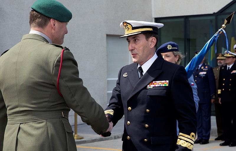 El almirante Martorell, asumiendo el mando de la operación 'Atalanta', el 29 de marzo de 2019. Foto ES OHQ