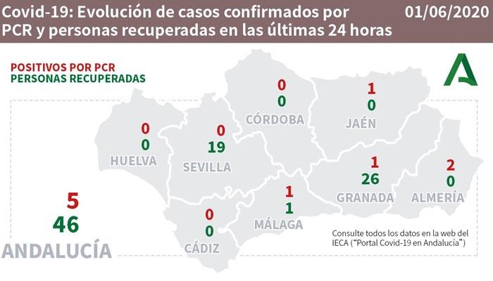 Solo se han contabilizado positivos en Málaga, Granada, Jaén y Almería