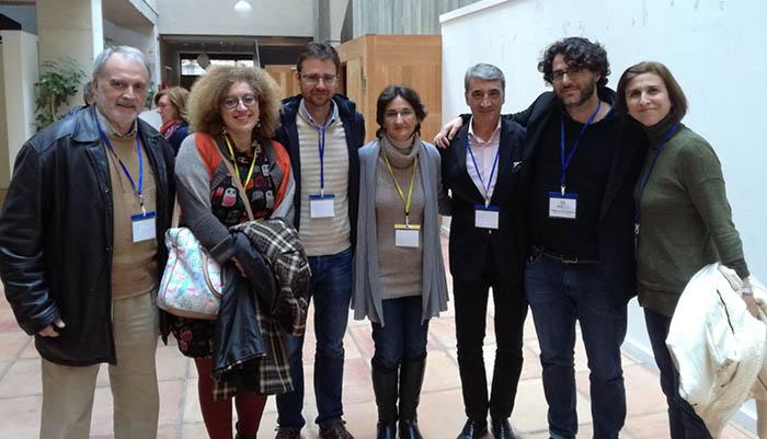 El presidente y la vicepresidenta de la APCG, con directivos de las asociaciones de Cádiz y Jerez, en la Asamblea de FAPE en Salamanca