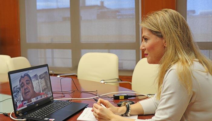 La delegada de la Junta en Cádiz, Ana Mestre, durante la vídeo conferencia
