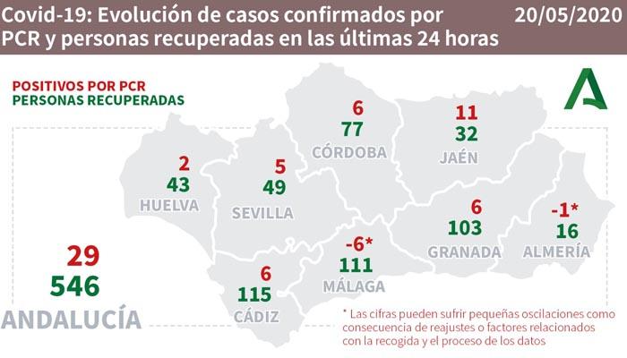 Cádiz cuenta con seis nuevos casos positivos, con 115 curados.