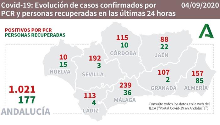En la provincia de Cádiz el aumento de contagios ha sido de 113