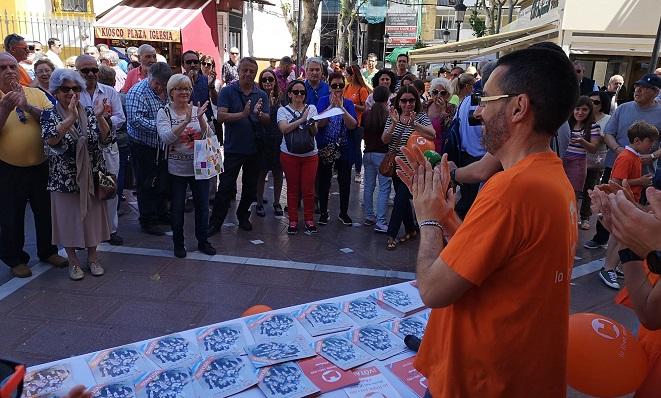 Juan Franco, en un acto reciente de campaña de La Línea 100x100