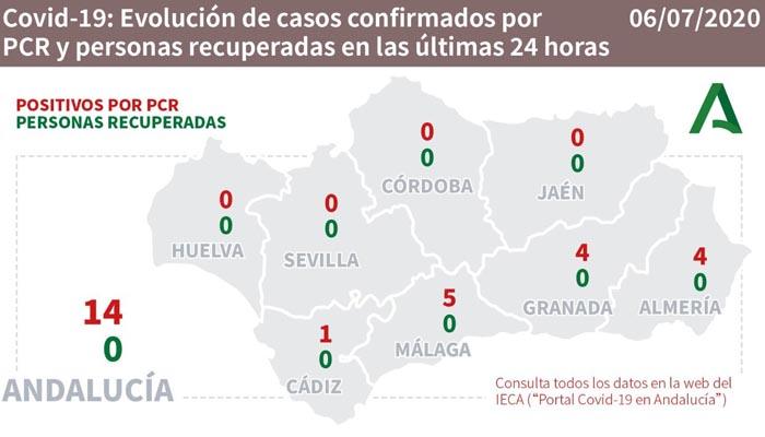 En Andalucía hay 14 caso nuevos confirmados por prueba PCR
