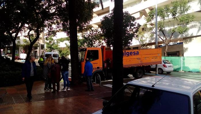 Un camión de Algesa da el susto en la avenida Virgen de La Palma