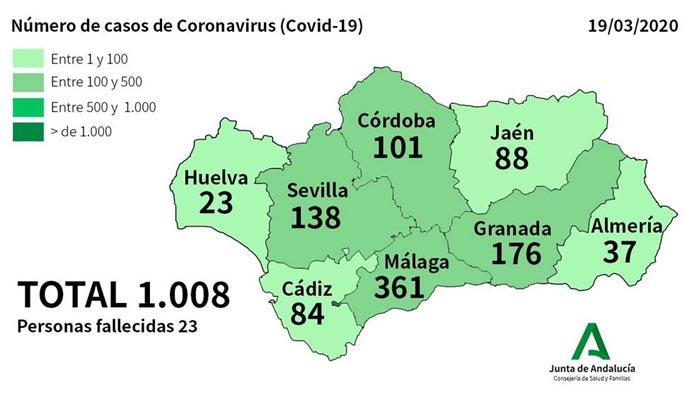 Ya son más de 1.000 los afectados en Andalucía