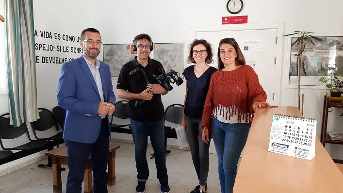 Franco, Begoña Arana y la productora que está realizando el documental