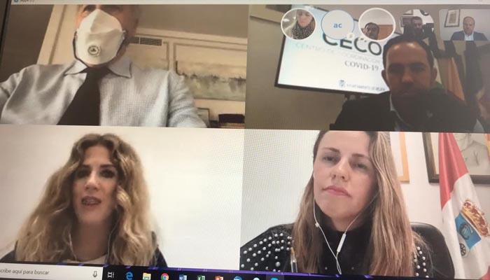 Imagen de la videoconferencia de los alcaldes del PP en Cádiz