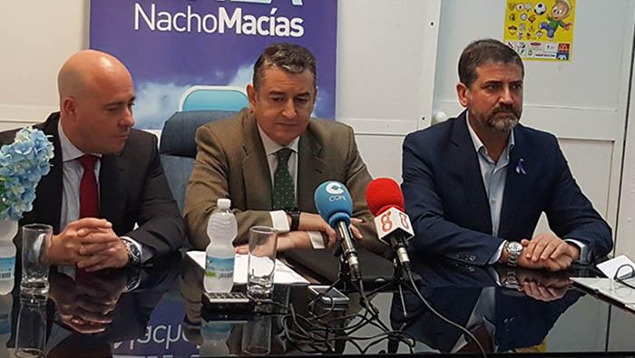 Nacho Macías, Antonio Sanz y Juan Pablo Arriaga, de izquierda a derecha