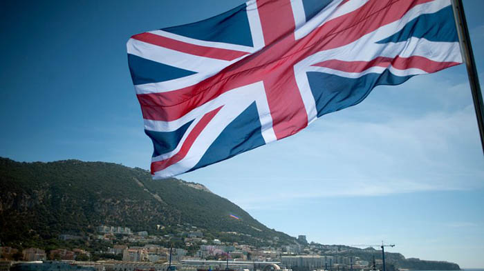 Bandera del Reino Unido sobre Gibraltar