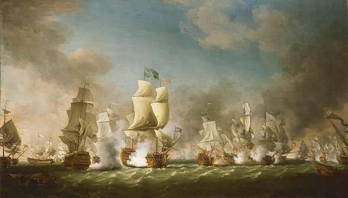 Batalla del Cabo de Passaro. Gran Bretaña destruye la flota española sin declaración de guerra. Obra de Richard Patton, 1767. Museo Marítimo Nacional, Greenwich (Londres)