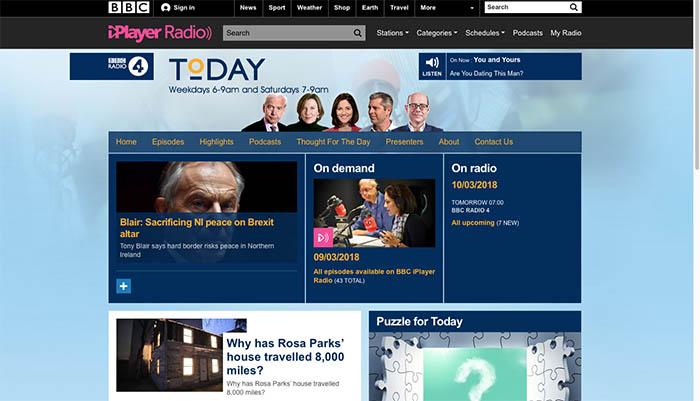 La web del programa Today de BBC Radio 4