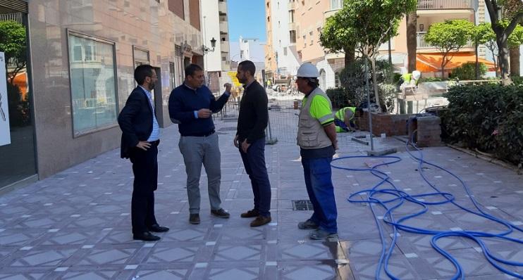 Franco, Macías y Mario Fernández, esta mañana de visita a las obras
