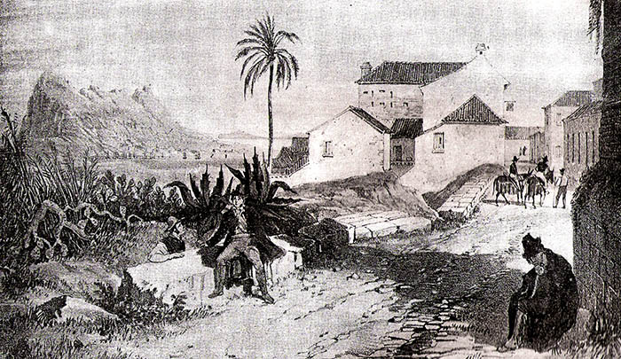 San Roque, calle de las Herrerías. Grabado de Willian Lacey, 1839