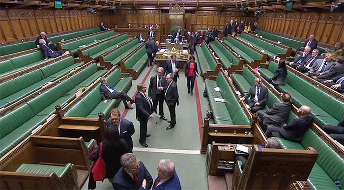 La Cámara de los Comunes británica, durante un receso en esta legislatura