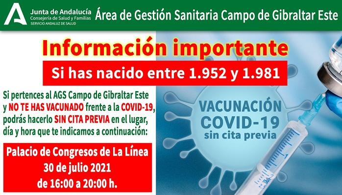 Cartel oficial de la campaña de vacunación en La Línea. Foto. NG