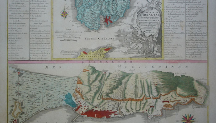 Mapas y vistas de Gibraltar. Cartografía alemana de 1733.