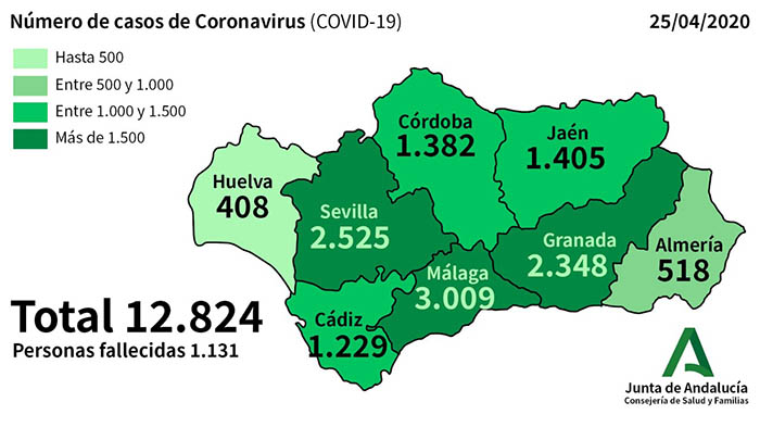 Casos de coronavirus al 25 de abril.