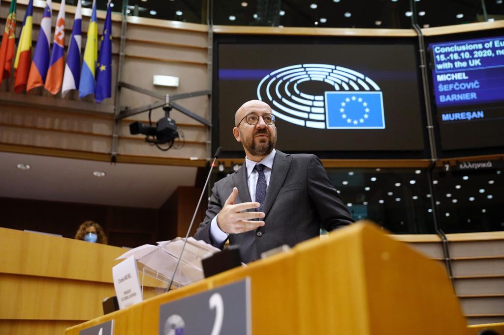 Charles Michel ante el Parlamento Europeo. Foto Twt.