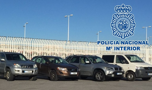 Algunos de los coches robados recuperados en la operación Lora