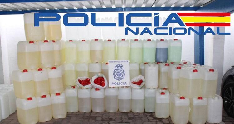 El combustible incautado por parte de la Policía Nacional en La Línea. Foto: Interior