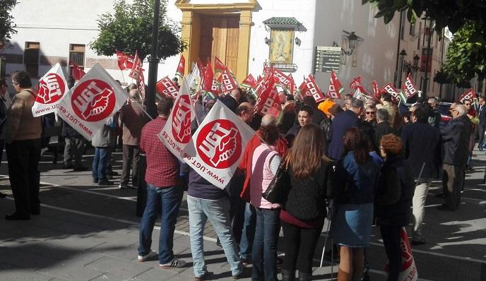 Delegados sindicales, en una protesta reciente celebrada en Algeciras