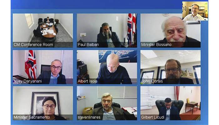 Imagen de la multiconferencia de ayer entre gobierno y líder de la oposición