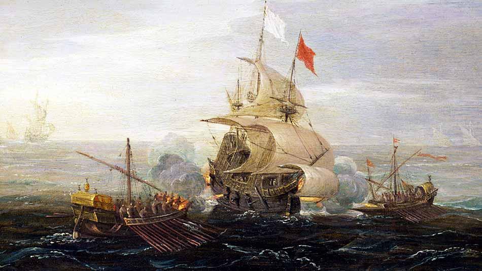 Las batallas navales entre europeos y berberiscos eran fuentes para nutrirse de esclavos respectivamente. Óleo de Aert Anthonissen