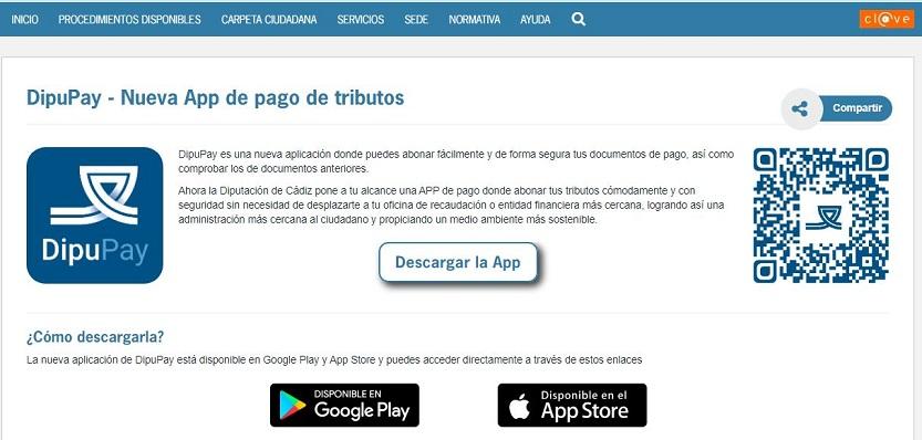 Una imagen de la nueva App de pago a tributos