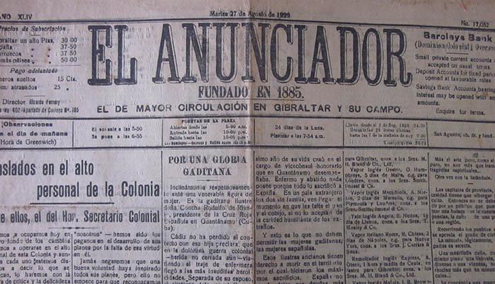 Portada de El Anunciador con informaciones relacionadas con España (Hemeroteca Histórica Francisco María Tubino)