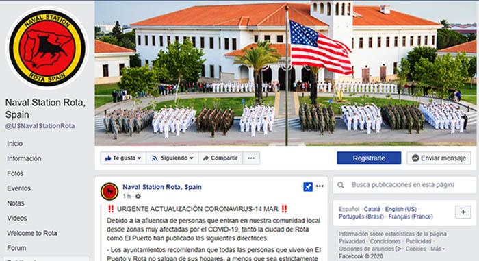 Perfil de Facebook de la Estación Naval norteamericana de Rota