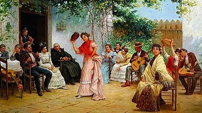 Fiesta flamenca, óleo de José García Ramos