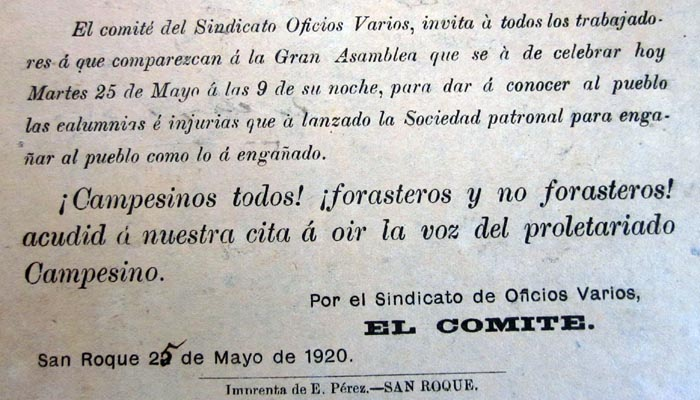 Anuncio de asamblea en plena huelga de mayo de 1920