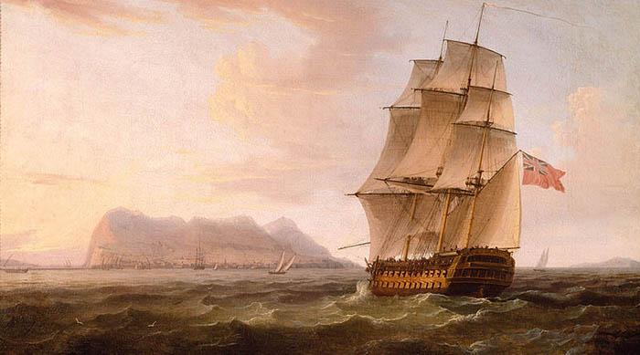 Barco de guerra británico frente a Gibraltar. Obra de Thomas Witcombe. Hacia finales del siglo XVIII