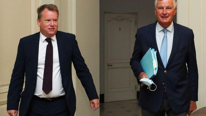 El jefe negociador británico, David Frost, y el europeo, Michel Barnier