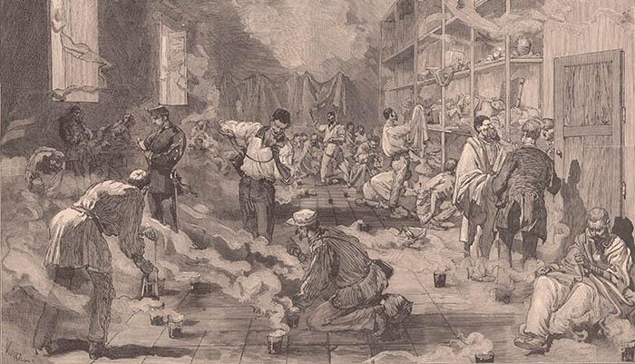 Desinfección de los alojamientos de soldados españoles llegados de Cuba en 1878. Dibujo de Daniel Urrabieta