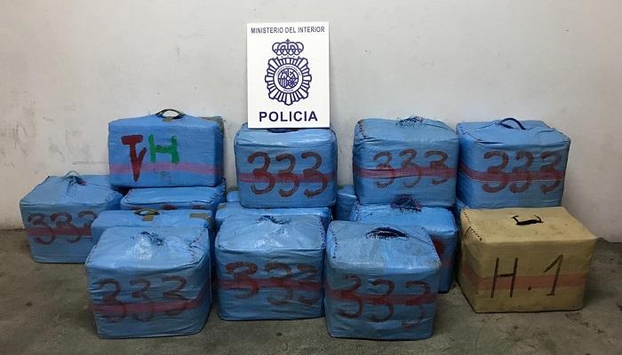 Parte del hachís incautado por la Policía Nacional en Los Barrios