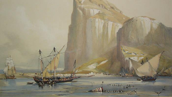 «El Peñón de Gibraltar frente al terreno neutral». Litografía de David Roberts, editada en 1837