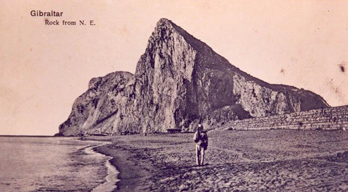 Imagen antigua de Gibraltar y la playa de Levante