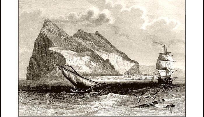 Vista de Gibraltar. Grabado hacia 1850. Fondos del Ayuntamiento de San Roque