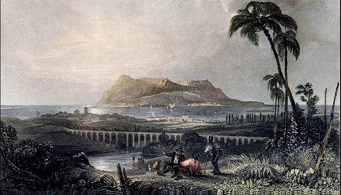 Grabado de Algeciras con Gibraltar al fondo. H.E.Allen. Hacia 1840. (Hemeroteca Histórica Francisco María Tubino. San Roque)