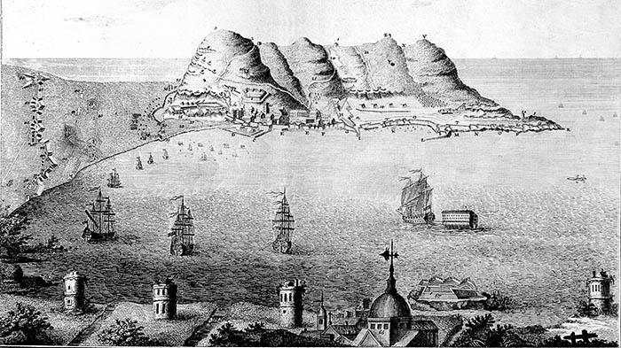 Grabado de la bahía de Algeciras realizado hacia 1800 por el alemán Daniel Berger. Fondos de la Hemeroteca Histórica Municipal Francisco María Tubino.  San Roque