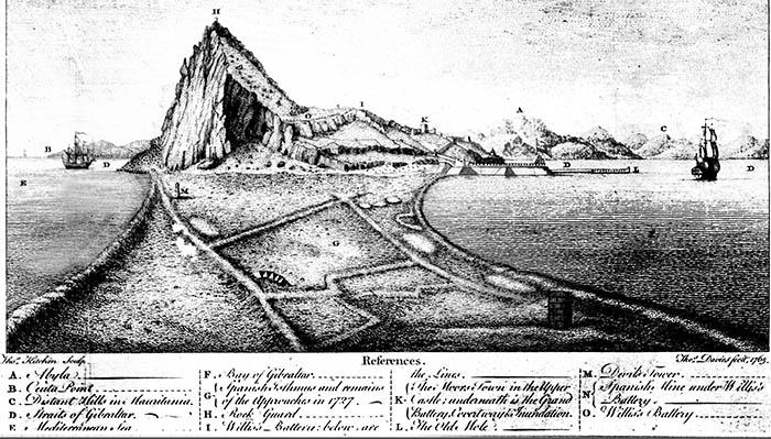 Vista desde el norte del istmo. Gibraltar con Ceuta al fondo, realizado por Tomás Davies en 1765. Hemeroteca Municipal Francisco María Tubino. San Roque