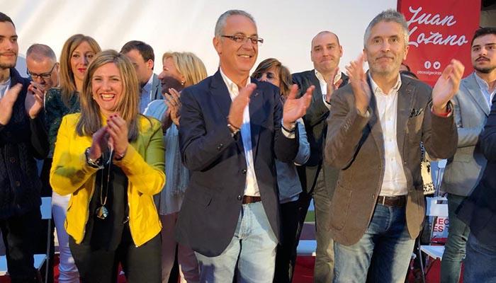 Irene García, Juan Lozano y Fernando Grande Marlaska en Algeciras