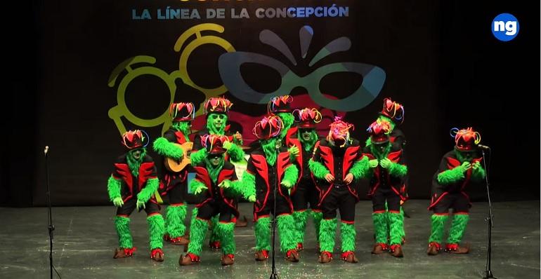 Un momento de la actuación de la chirigota 'El Grinch: Pesadilla antes de Carnaval'