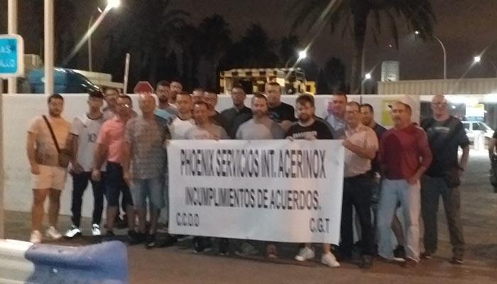 Una de las protestas de Phoenix Services ante Acerinox