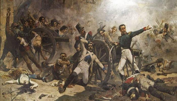 Muerte de Pedro Velarde en la defensa del Parque de Artillería de Monteleón durante el levantamiento popular del 2 de mayo. Obra de Joaquín Sorolla