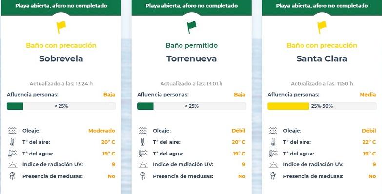 Una captura de la nueva sección de playas en la web www.lalinea.es