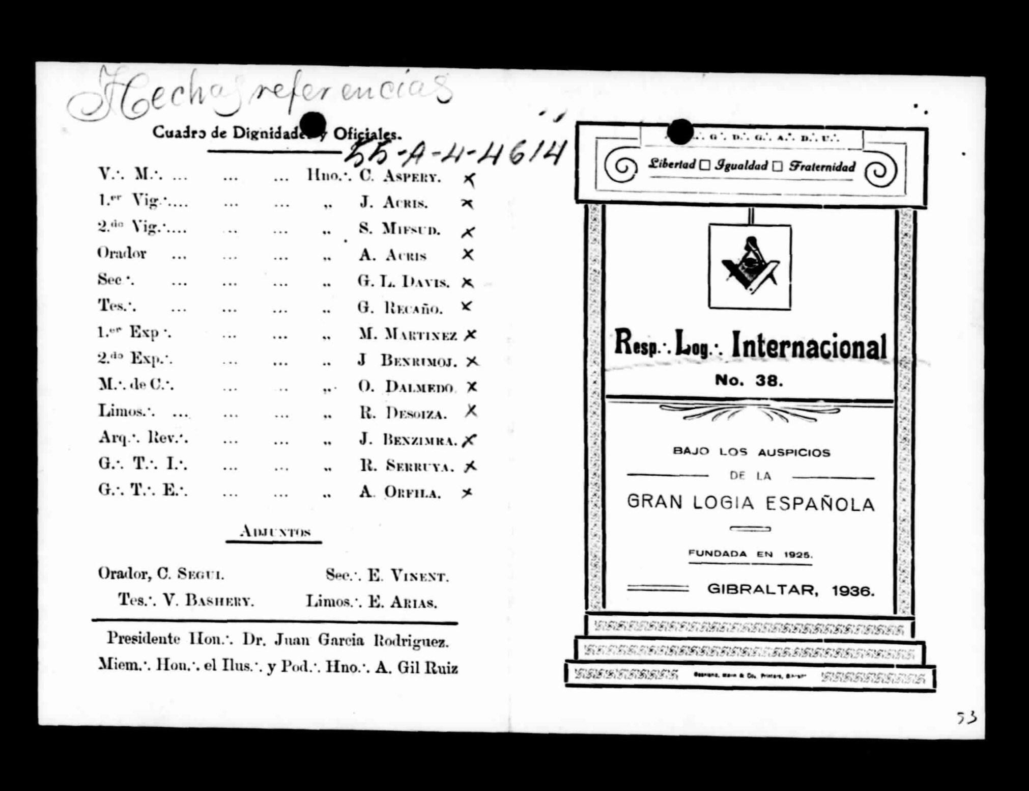 Documento relativo a la Gran Logia Española en Gibraltar, 1936, perteneciente al Centro Documental de la Memoria Histórica (Salamanca