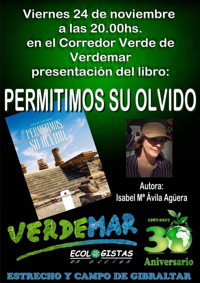 Cartel de la presentación del libro de Isabel María Ávila